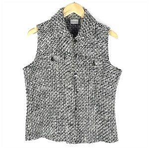 Chico's Jackets & Coats - Chico's Black White Sleeveless Boucle Jacket Vest